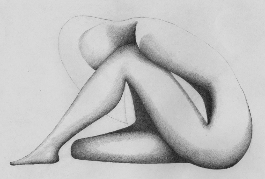 Curled Figure tonal - pencil drawing