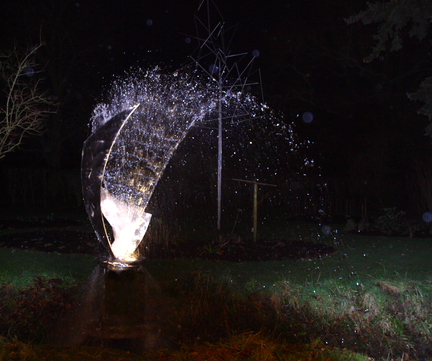 Fountain - stainless steel at night