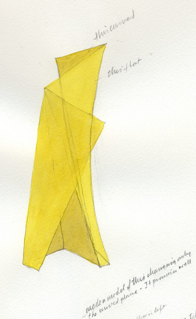 Yellow Tower - pencil and water colour